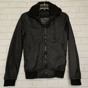 SUPERDRY MENS MOODY BOMBER SIZE SMALL BLACK JACKET